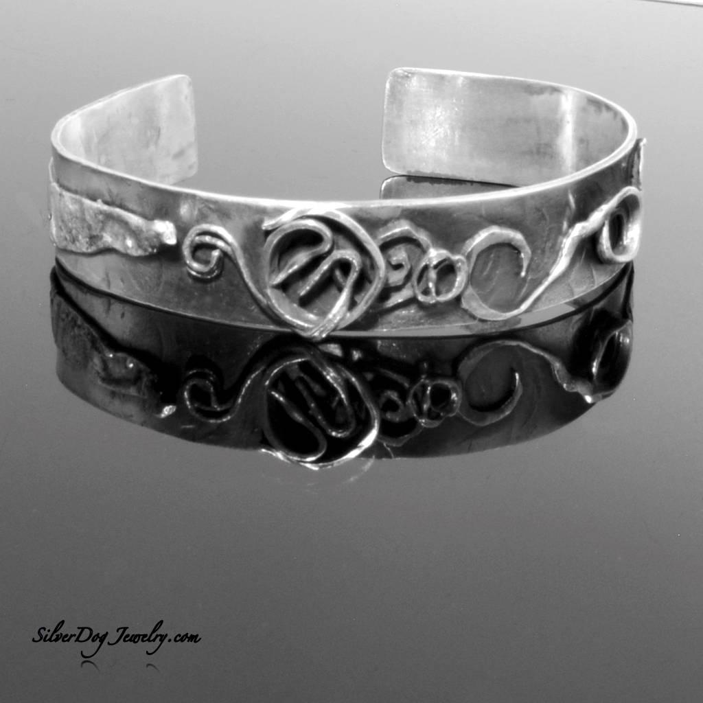 Sterling silver freeform cuff bracelet
