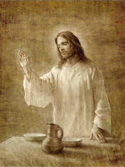 Sepia sketch of Jesus implementing the sacrament.