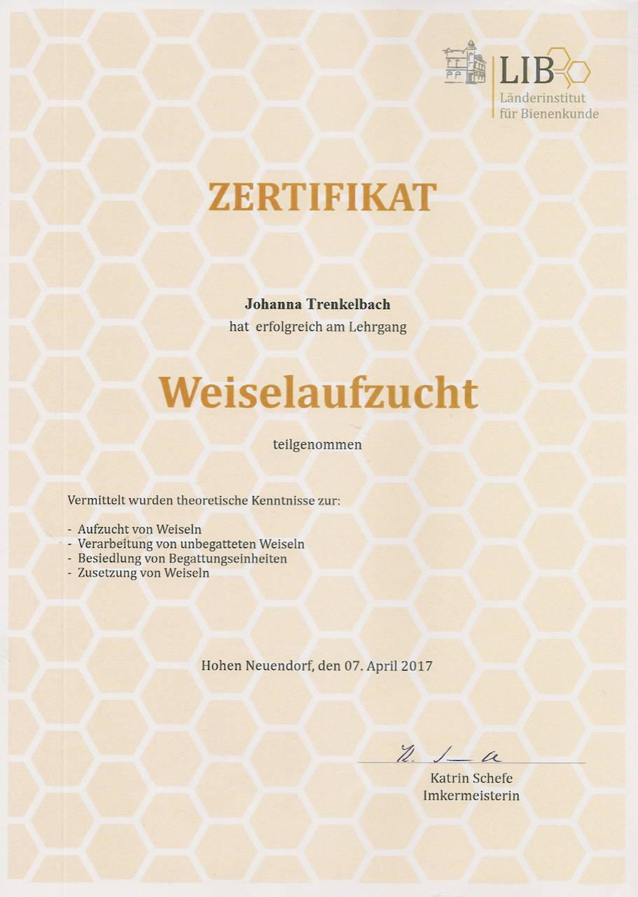 Zertifikat Weiselaufzucht