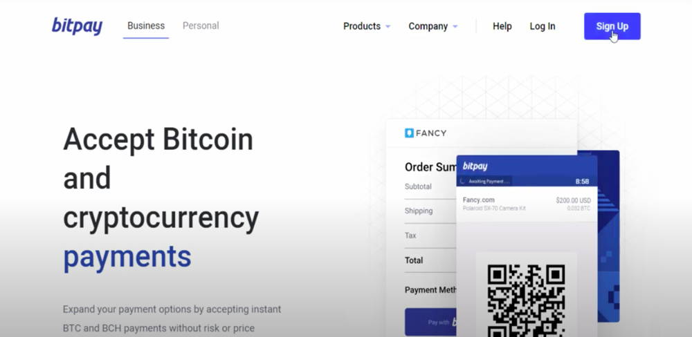 The main page of Bitpay payment gateway