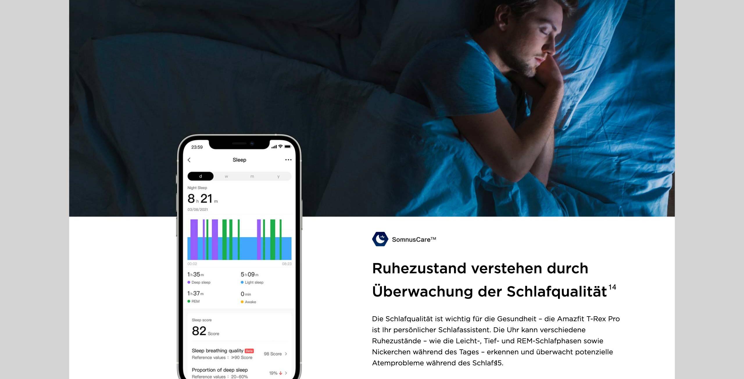 Amazfit T-Rex Pro - Ruhezustand verstehen durch Überwachung der Schlafqualität