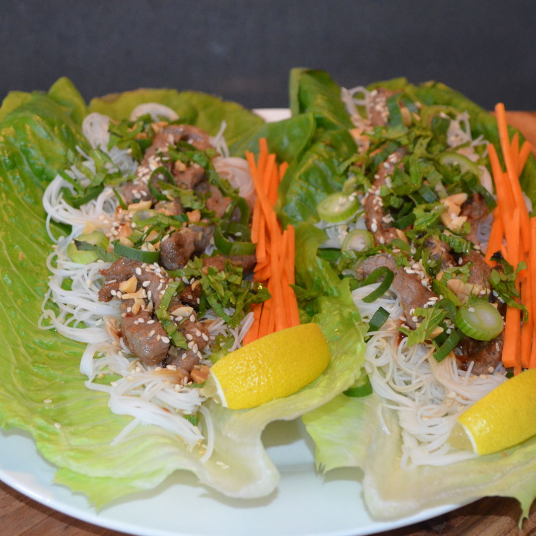 Date: 30 Mar 2020 (Mon) 95th Main: Korean Style Beef & Vermicelli Noodle Lettuce Cups with Roasted Peanuts [292] [158.5%] [Score: 9.0] Cuisine: Korean Dish Type: Main