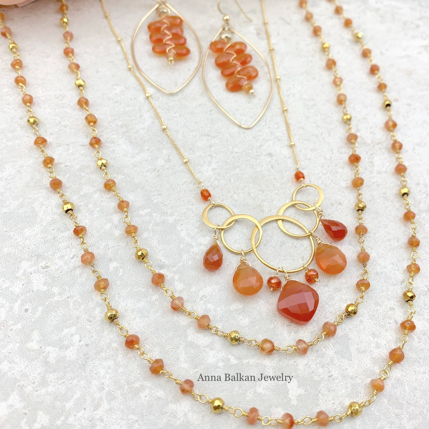 Long Layering Necklace w Carnelian Necklace