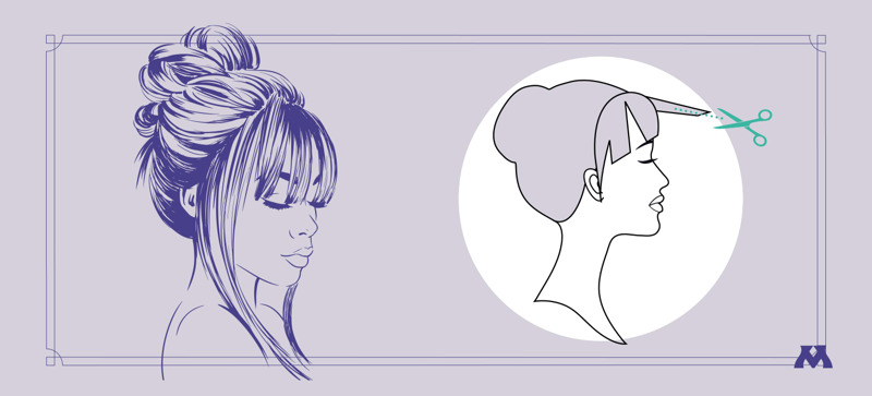 graphic showing how to cut texture into bangs on a wig
