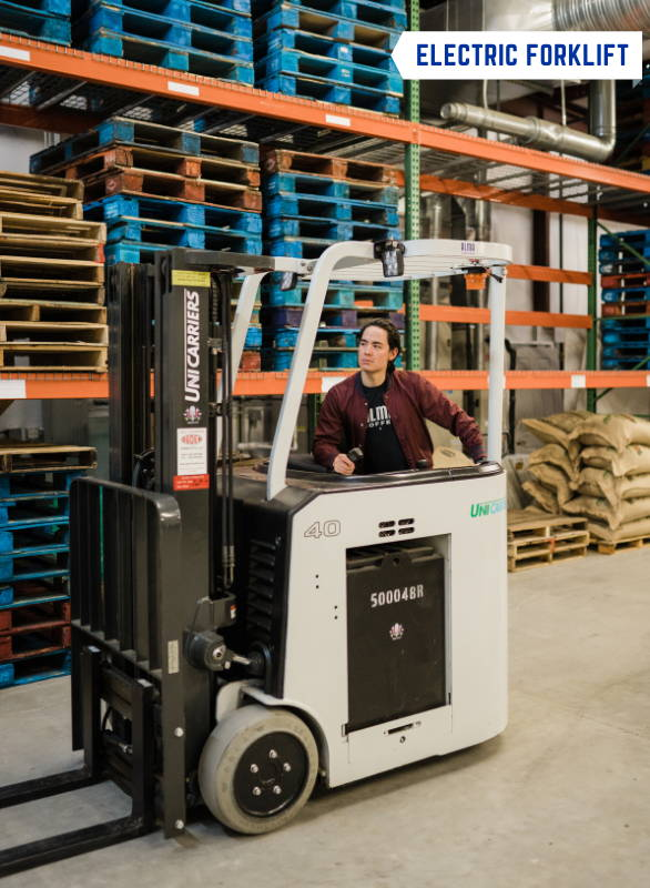A man operating the Electric Forklift