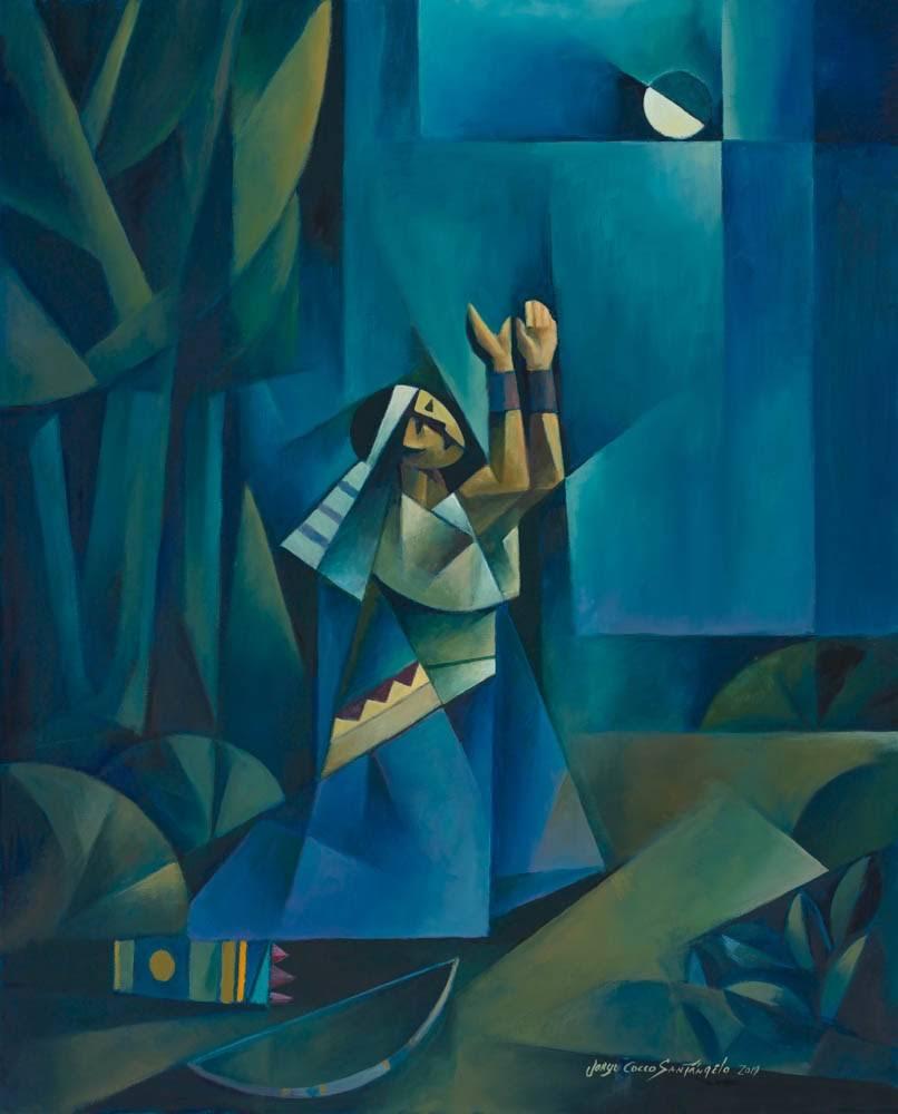 Modern LDS art painting of Enos praying to God.