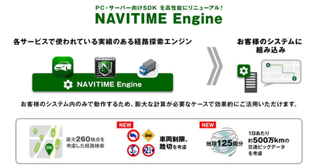 ナビタイムが法人向け経路検索エンジンをリニューアル、「NAVITIME Engine」として新たに提供開始