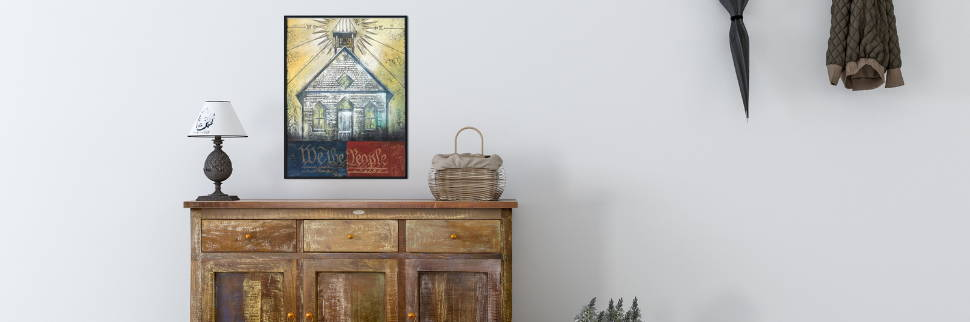 Banner image of patriotic wall art of a church and the constitution.