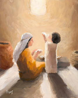 Impressionist painting of young Jesus and Mary spending time together. Light from a simple window shines down on them.