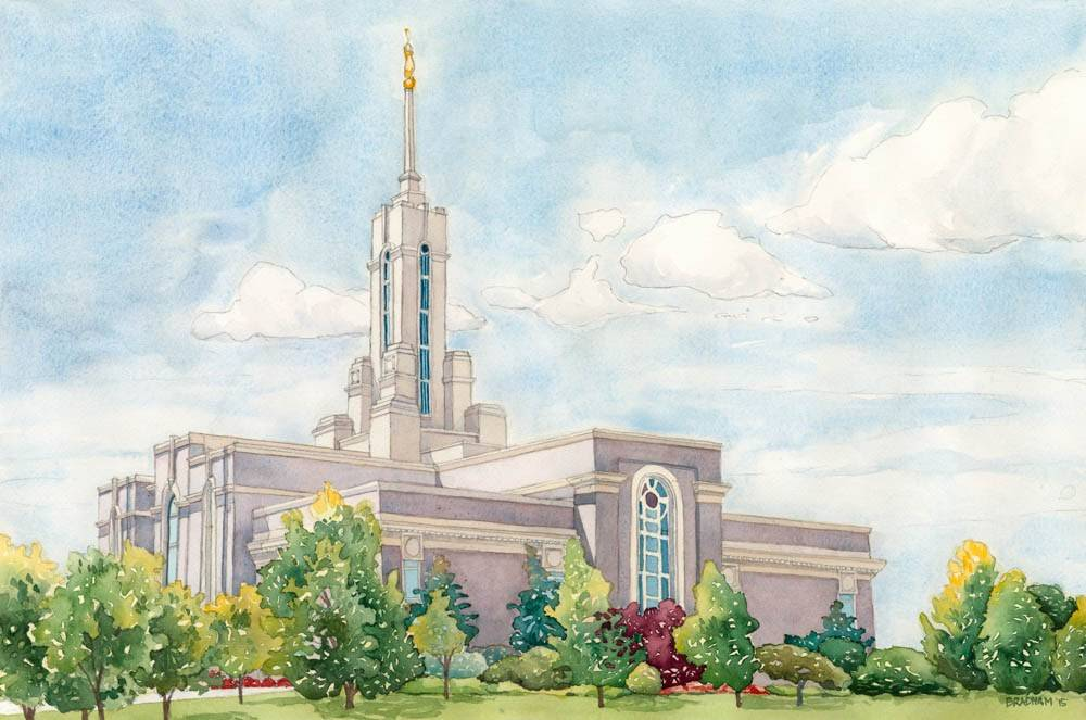 LDS art painting of the Mount Timpanogos Temple.