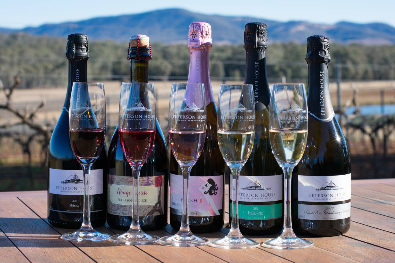 A selection of Peterson House Champagne in Hunter Valley Winery