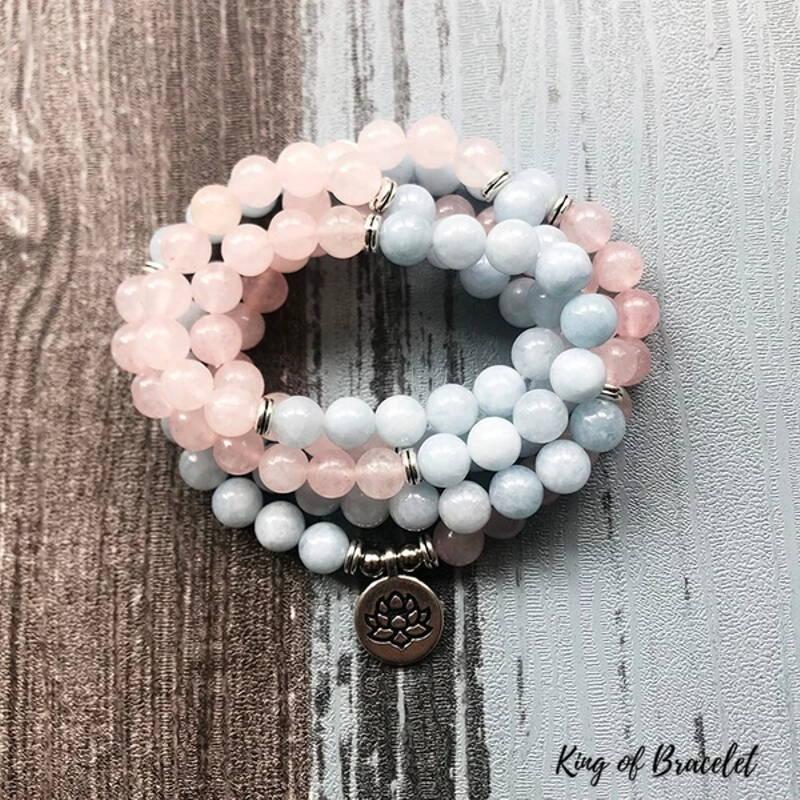 Bracelet Mala 108 Perles en Aigue Marine et Quartz Rose - King of Bracelet