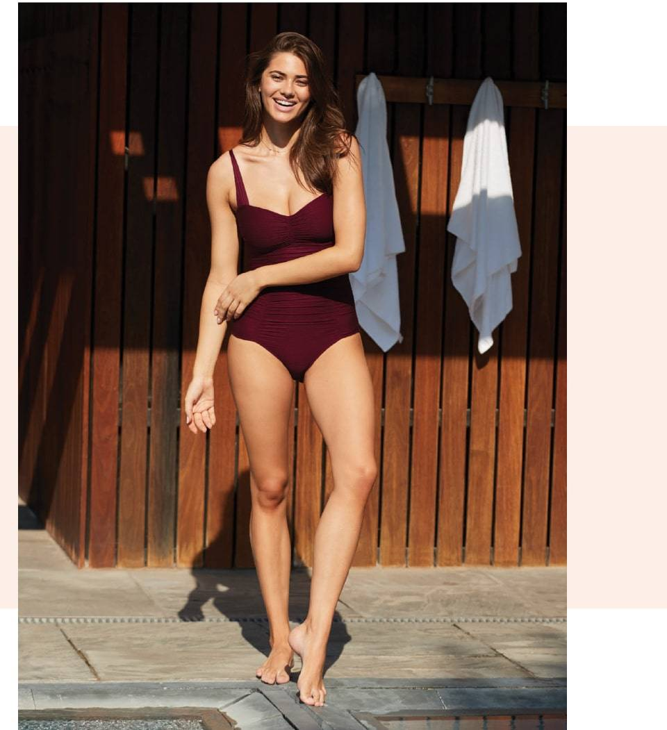 SKYE's Lauren one-piece in the Romance Red color from the GEMS collection.