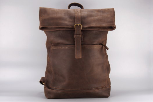 """Коричневый кожаный рюкзак """"Brown Fat Boy"""""""