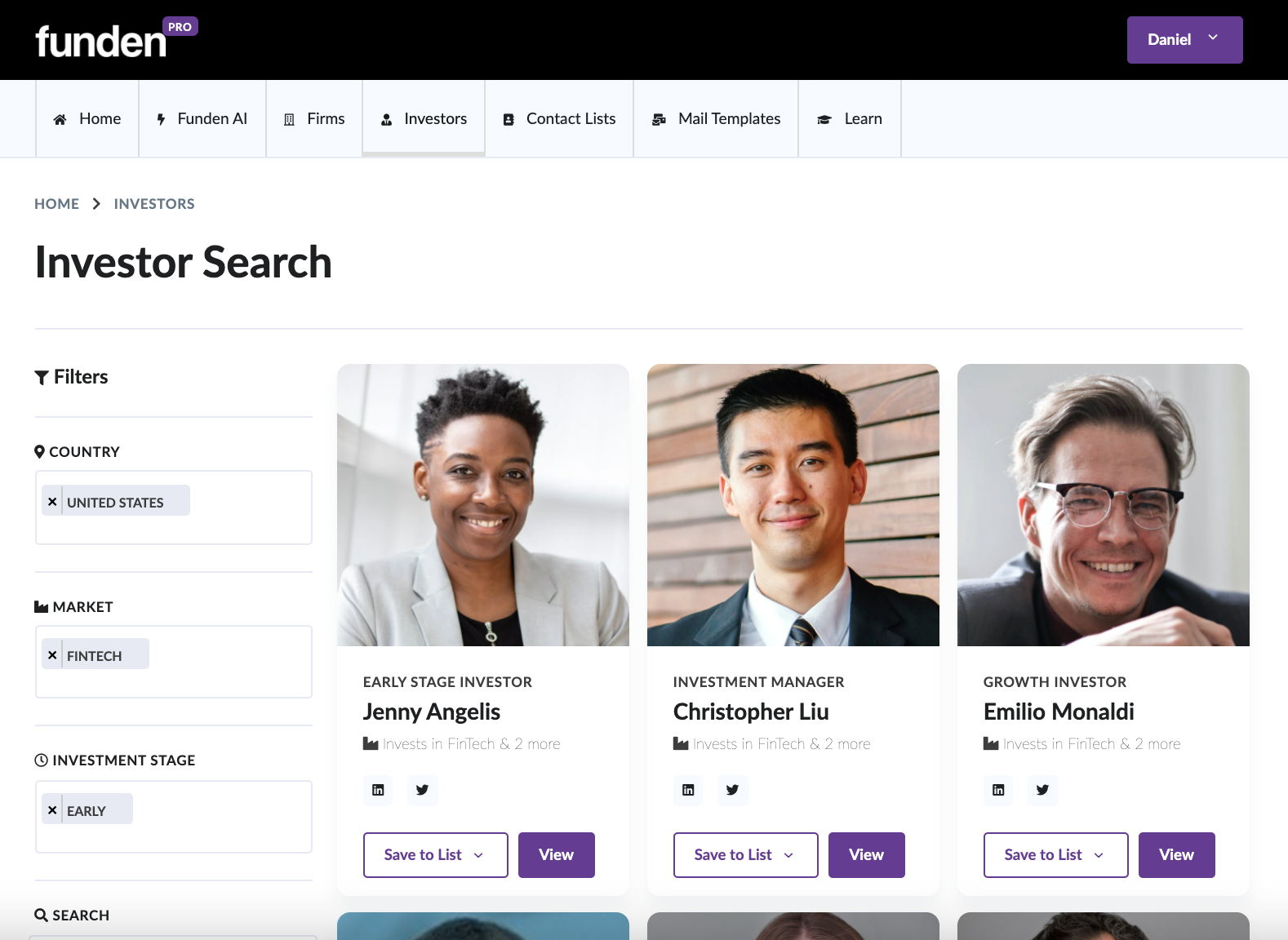 Funden app screenshot to find startup investors and vc firms directory database home