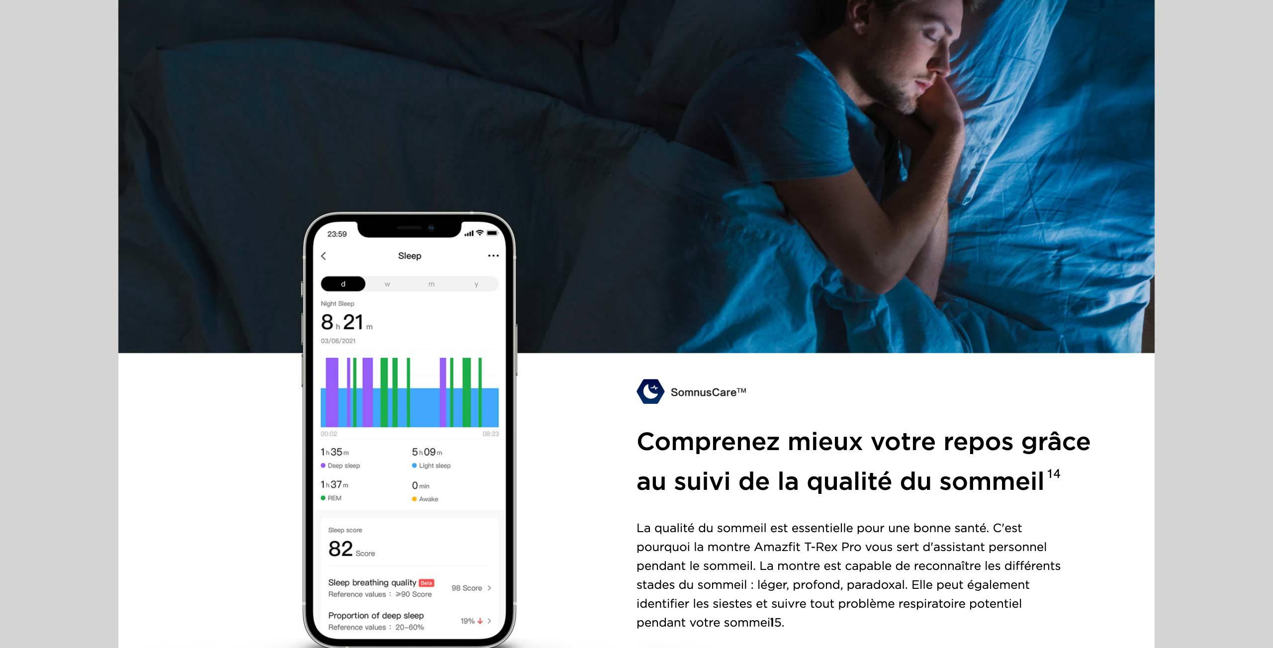 Amzfit T-Rex Pro - Comprenez mieux votre repos grâce au suivi de la qualité du sommeil