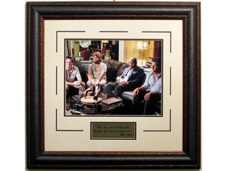 "Mike Tyson Hand Signed and Inscribed ""We All Do Dumb Shit When We're F*%#@d Up"" Hangover Movie Framed Photograph"
