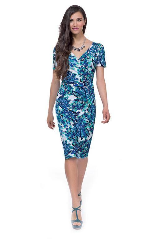 MICHAELA LOUISA 8453 PEACOCK PRINT DRESS