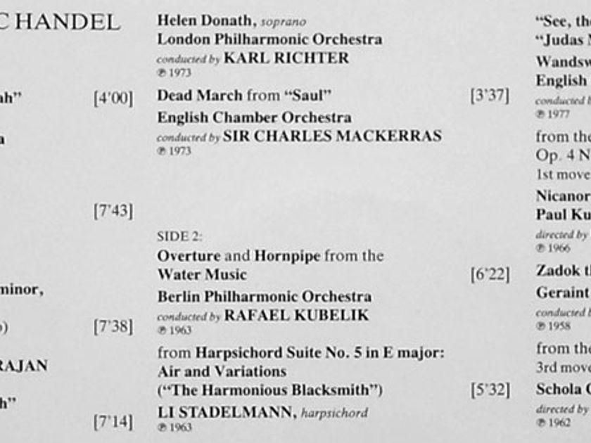 DG/The - Glory of Handel / NM