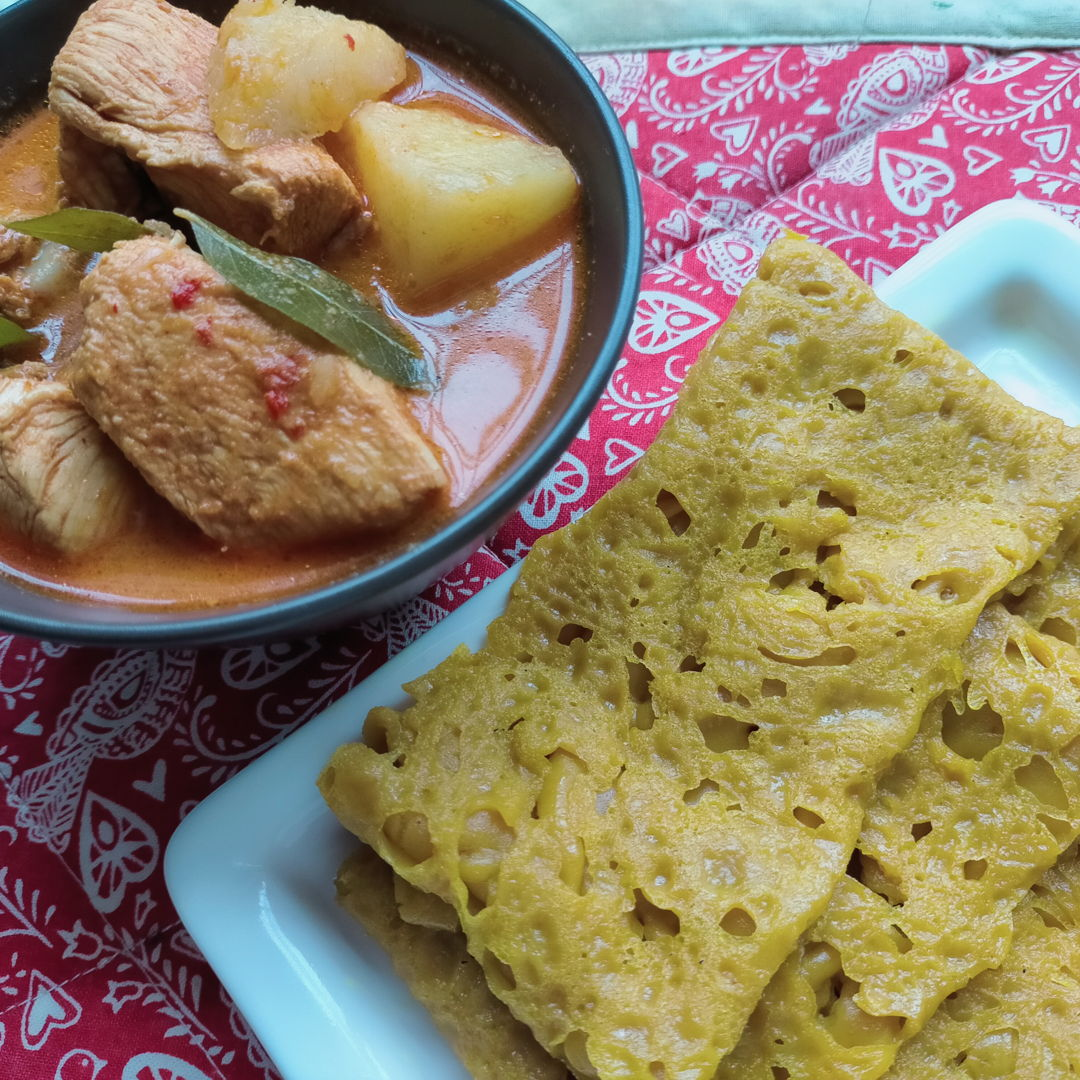 Two recipes (and Roti Jala) from Nyonya Cooking combined to make a delicious meal on a wet and cold day!