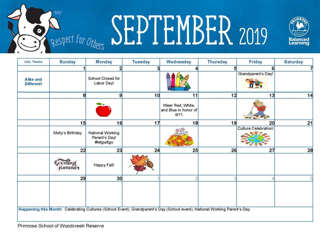 September Calendar 2019. Very busy month with lots of exciting events!