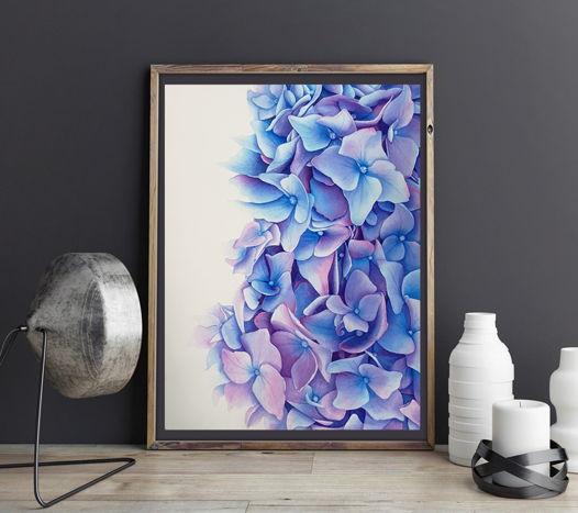 "Картина ""Гортензия"" (28 х 38 см). Акварель"