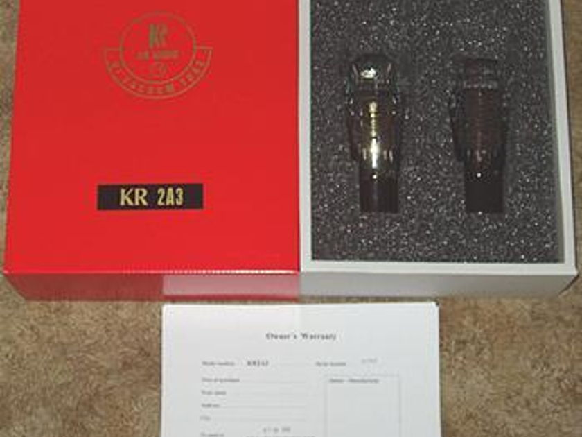 KR Audio 2A3 tubes brand new factory matched pair