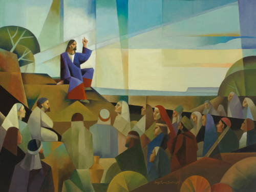 Modern painting of Jesus preaching the Sermon on the Mount to a crowd of people.