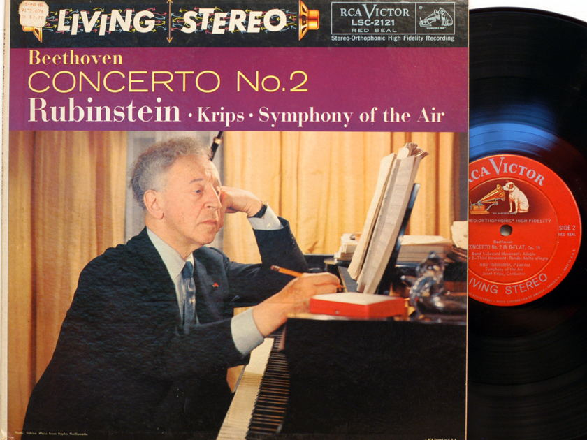 Beethoven Concerto No. 2 - Rubenstein Krips Sym of the Air Rca LSC-2121 SD DG 1st pressing