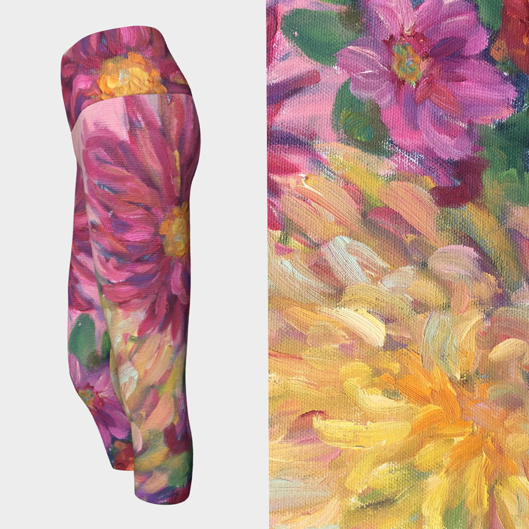 Pink Dahlias Yoga Pants by Liz Lauter