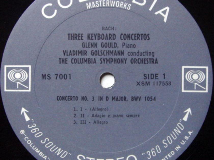 Columbia 2-EYE / GLENN GOULD, - Bach Three Keyboard Concertos, VG+!