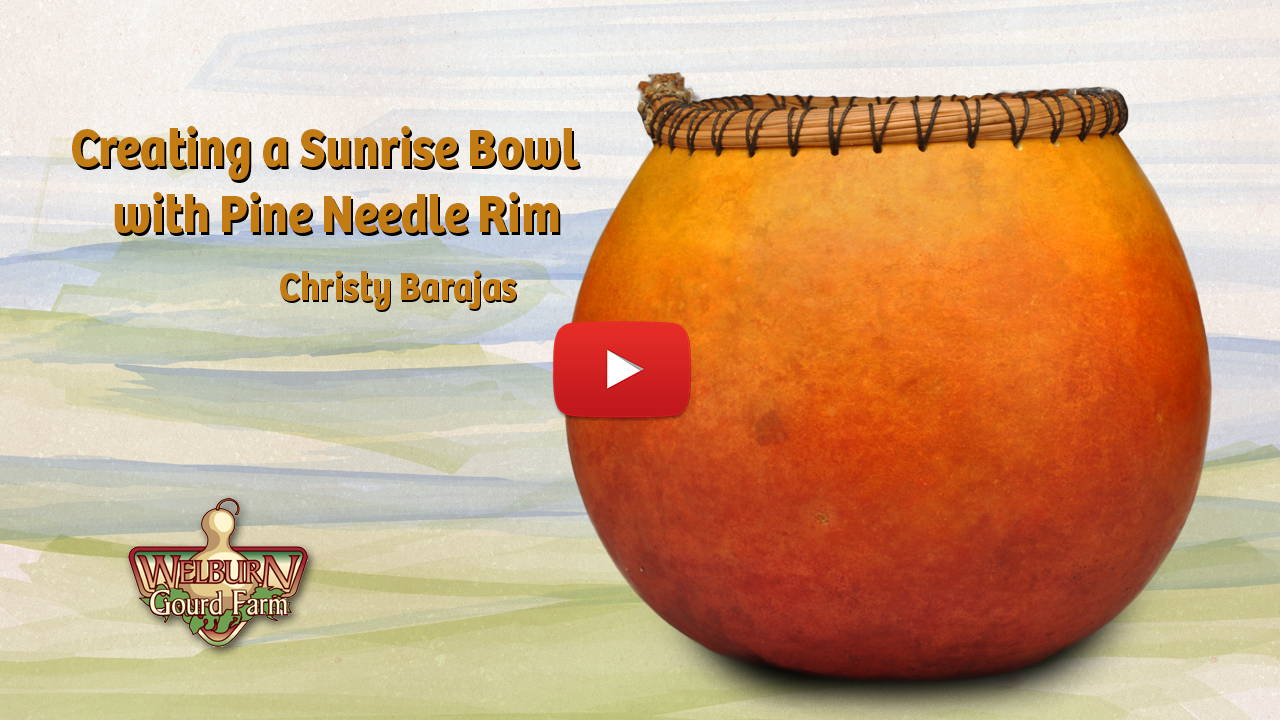 Watch and learn how to create a sunrise gourd bowl with pine needle rim!
