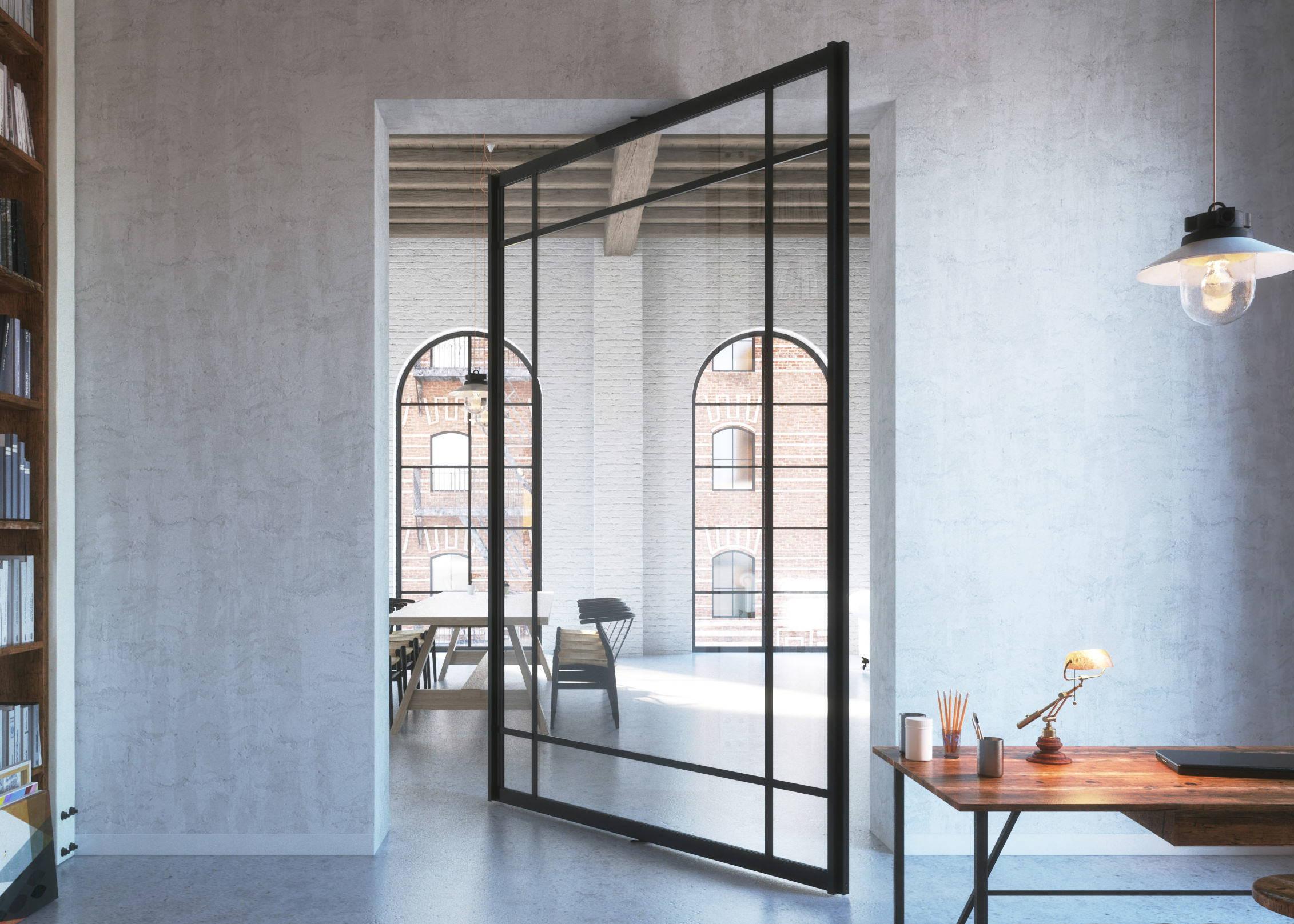 Glass pivot doors with a minimal aluminium frame & Pivoting room iders - glass pivot doors \u2013 Portapivot