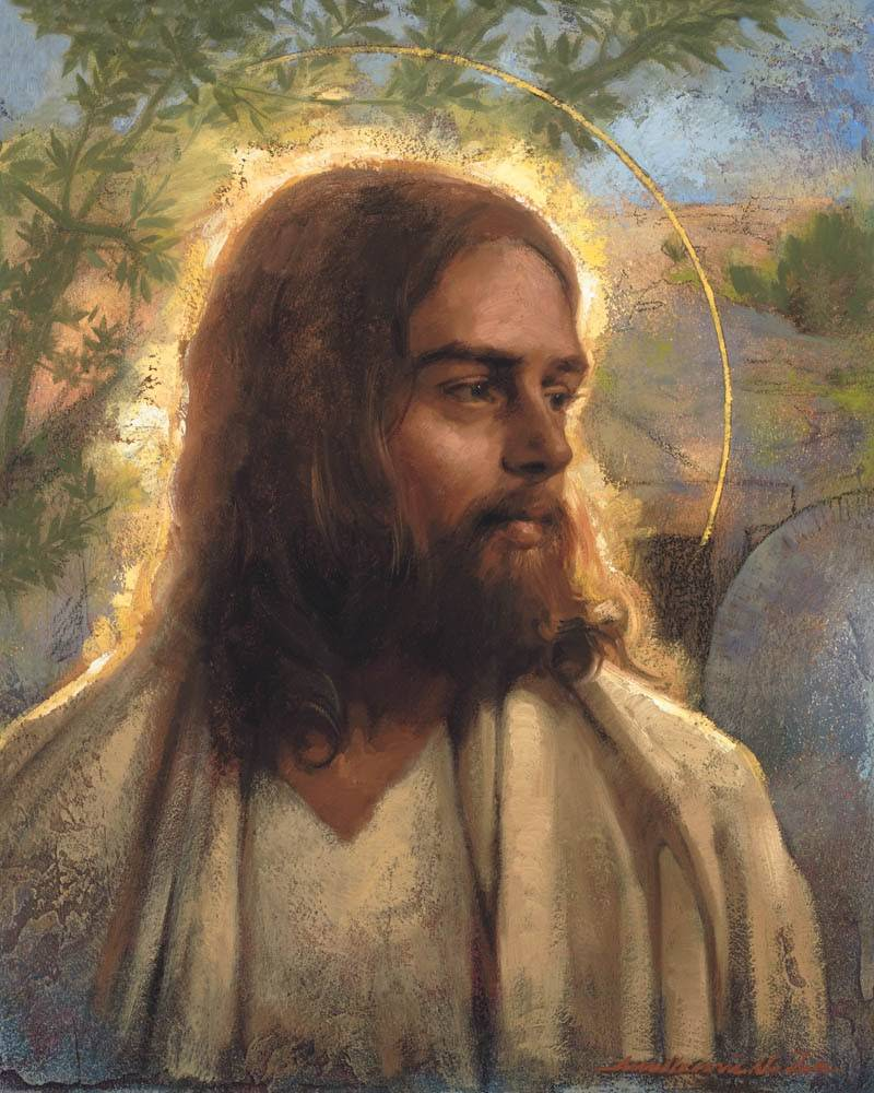 Stucco-styled portrait of Jesus standing in front of the empty tomb.