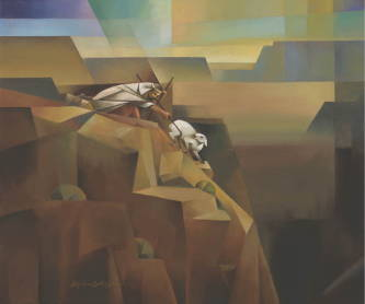 Modern painting of Jesus rescuing the lost sheep from a cliff.