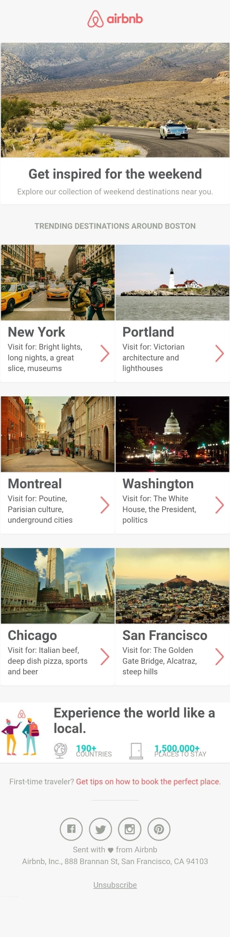 AirBnB knows where there buyers are in the sales cycle and introduces them to their next steps.
