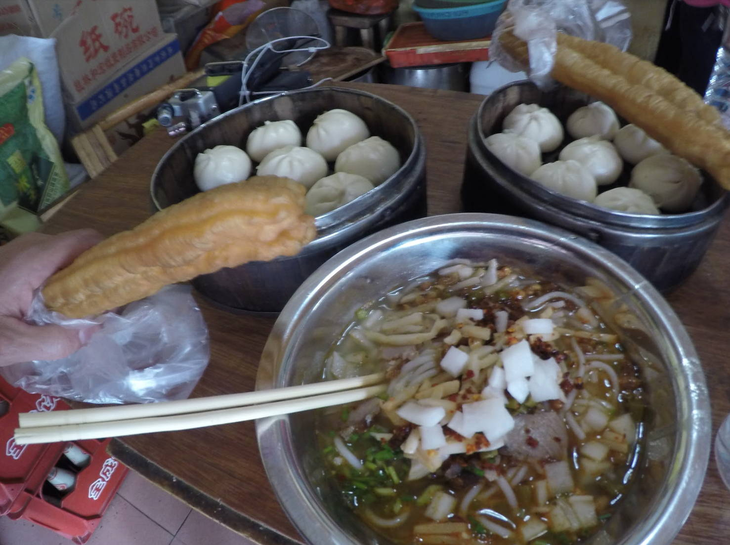 Eating noodles and street food in china