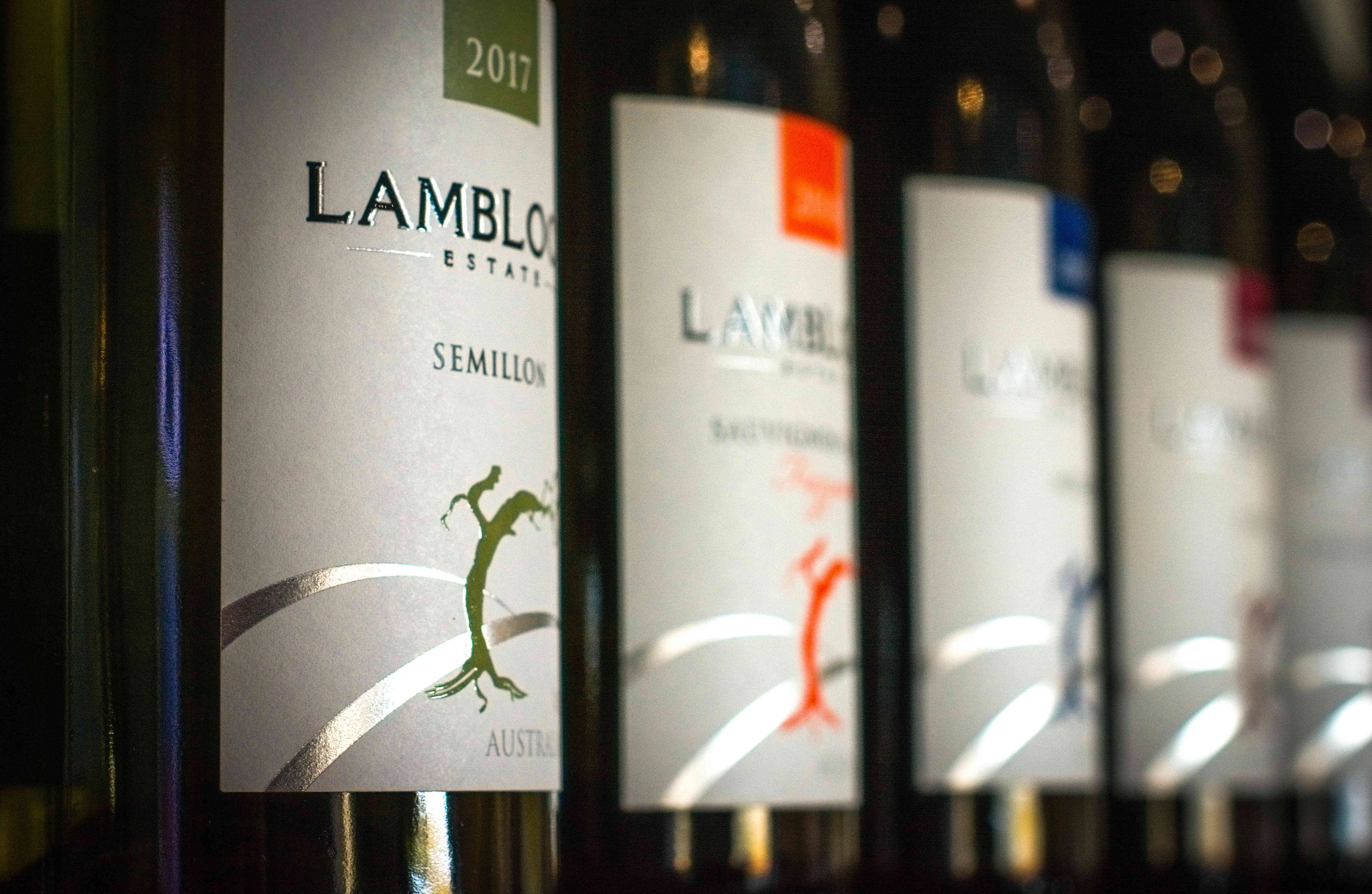 Selection of wines at Hunter Valley Vineyard Lambloch Estate