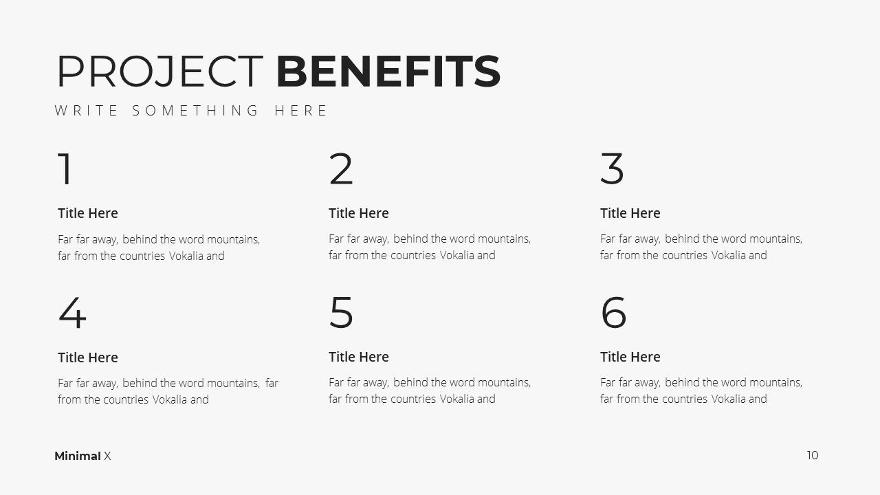 Minimal X Project Proposal Presentation Template Project Benefits