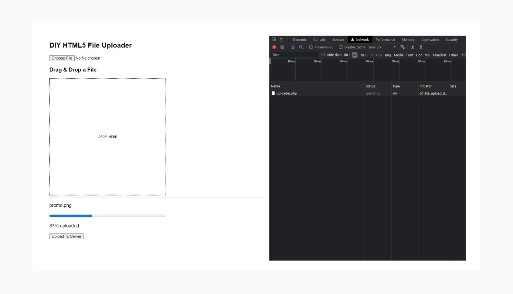 HTML5 Drag and Drop file uploader