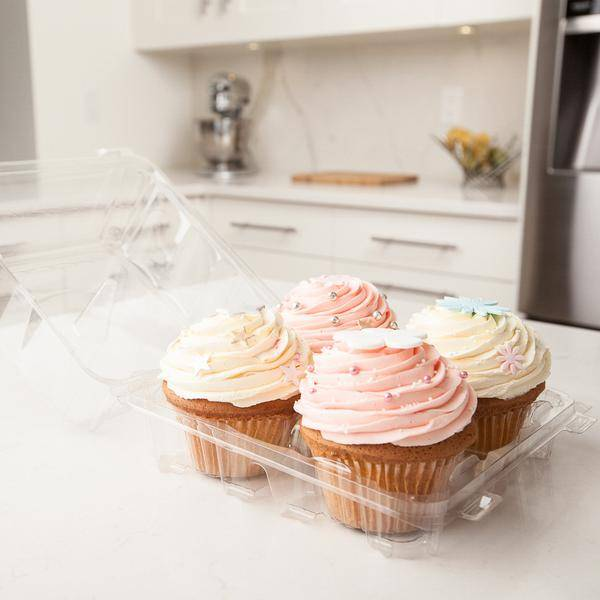 plant based food packaging, mega cupcake compostable containers with pastel cupcakes