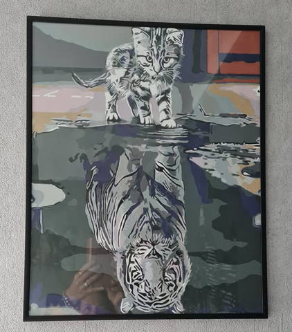 peinture par numéros client d'un chaton se prenant pour un tigre