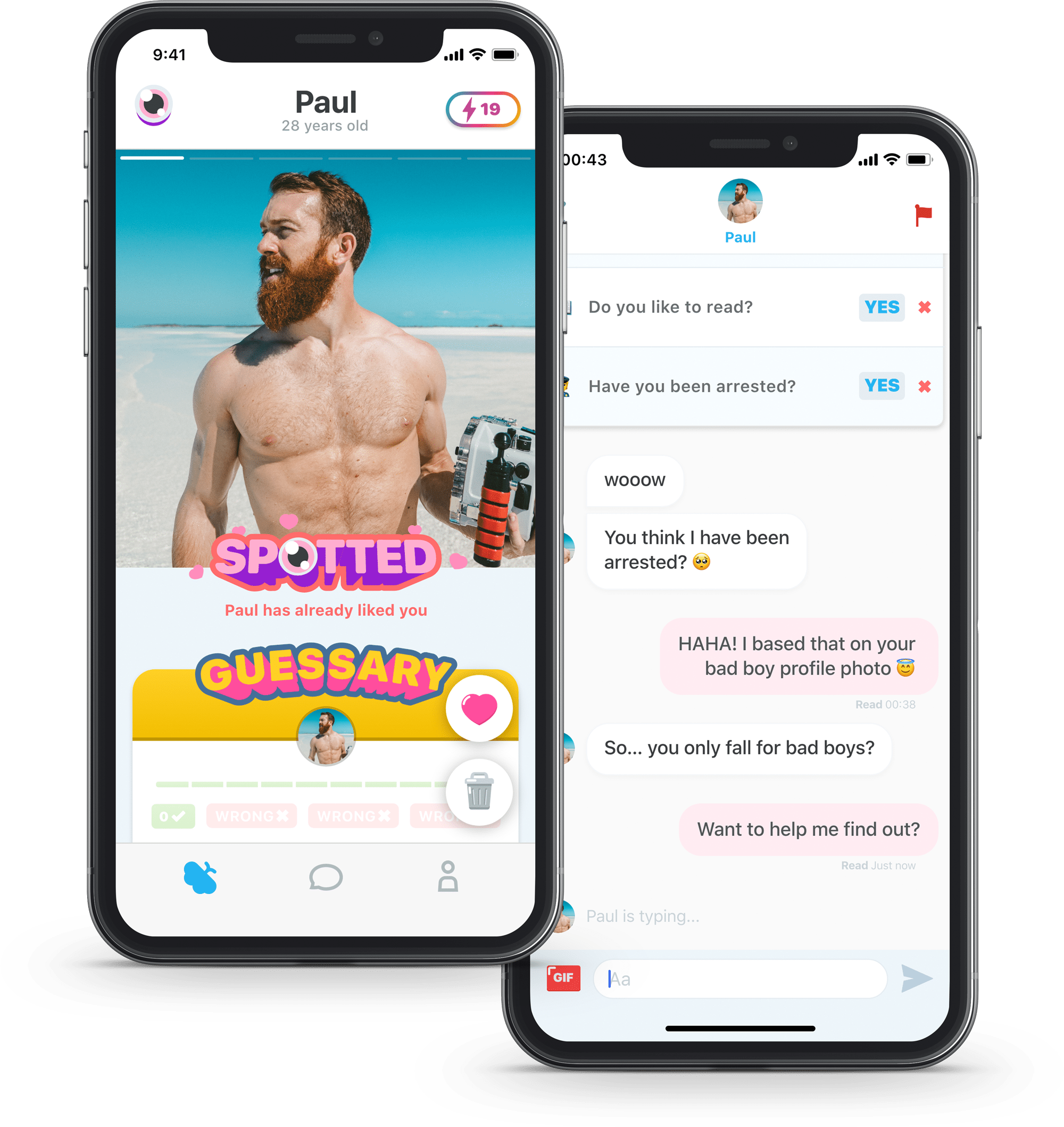 Screenshots of the dating app Smitten
