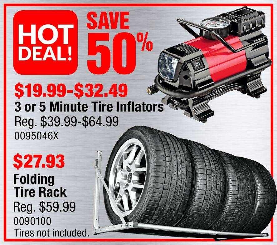 Save 50% on tire inflators & Folding Tire racks