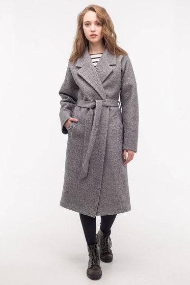 Зимнее утеплённое пальто-халат серого цвета