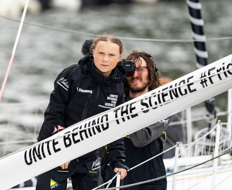 Greta Thunberg on a yacht