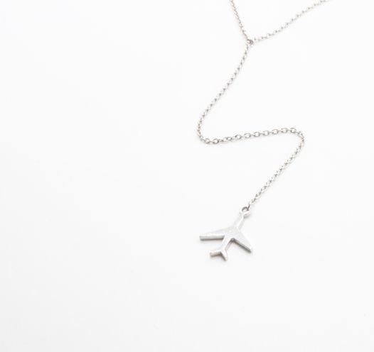 Серебряное колье Y самолет длинное / Necklace airplane