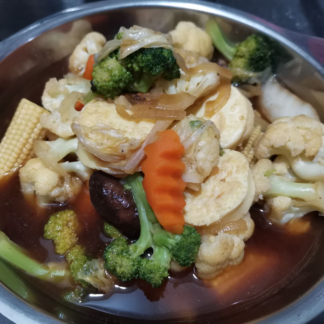Claypot egg tofu and vegetables without the claypot