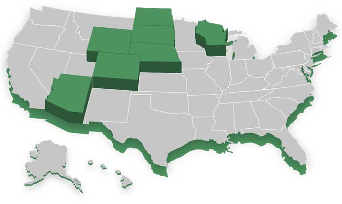 Map of states where we provide home loans