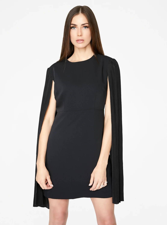 Black Mini Dress with Pleated Sleeves